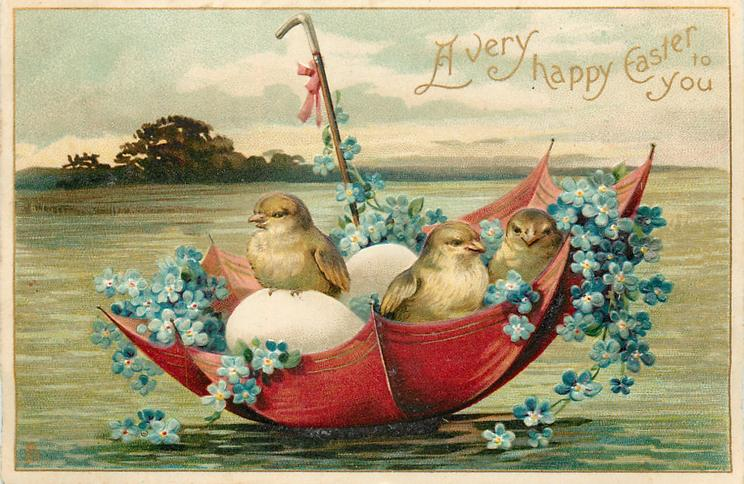 A VERY HAPPY EASTER TO YOU  chicks & eggs float in red umbrella boat with forget-me-nots
