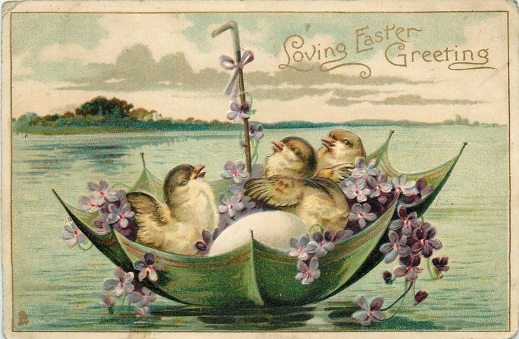 LOVING EASTER GREETING  chicks & eggs float in green umbrella boat with violets