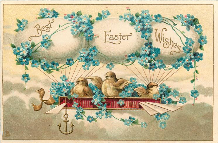 BEST EASTER WISHES  chicks in nest airship supported by egg balloons, forget-me-nots