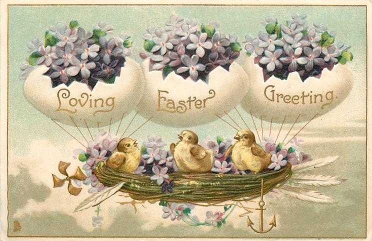 LOVING EASTER GREETING  chicks in airship nest supported by egg balloons, violets