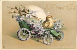 A VERY HAPPY EASTER TO YOU  chick drives violet covered egg-cart right