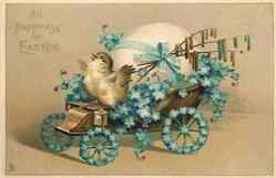 ALL HAPPINESS FOR EASTER  chick drives forget-me-not covered egg-cart left