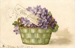 A HAPPY EASTER  violets in basket