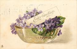 EASTER GREETINGS  violets in glass bowl