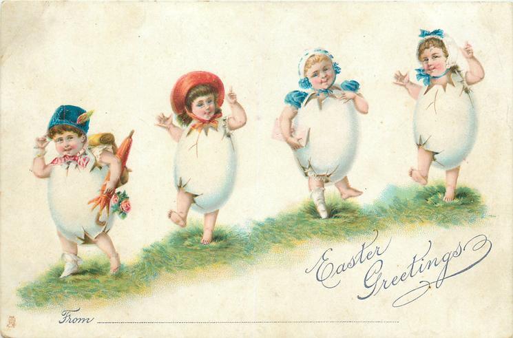 EASTER GREETINGS  four fantasy egg children in a line on grass