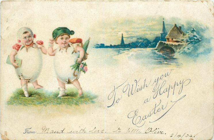 TO WISH YOU A HAPPY EASTER  two fantasy egg children on grass, inset ofwater & buildings distant right
