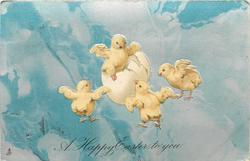A HAPPY  EASTER TO YOU  chick emerges from shell, three others dance around,  blue/grey background