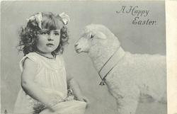 A HAPPY EASTER  girl left, toy lamb right