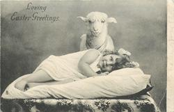 LOVING  EASTER GREETINGS  toy lamb behind girl lying on pillow