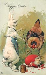A HAPPY EASTER  white rabbit wearing blue painters bib, hen looks at chick emerging from red  egg