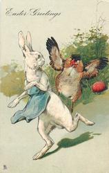 EASTER GREETINGS  white rabbit wearing blue painters bib chased by hen, red egg behind