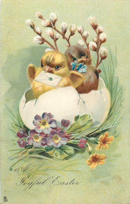 A JOYFUL EASTER  two chicks in bottom part of eggshell, one with letter in beak, pussy willow behind, violets & daisies below