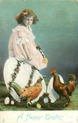 A HAPPY EASTER  girl sits on an enormous decorated egg, other eggs around, cock & hen below