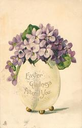 EASTER GLADNESS ATTEND YOU  purple violets in white fantasy egg