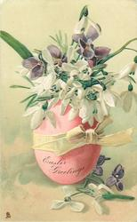 EASTER GREETINGS  violets & snowdrops in pink egg with yellow bow