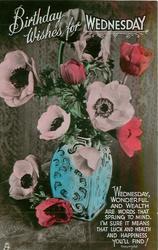 BIRTHDAY WISHES FOR WEDNESDAY  blue vase of anemones