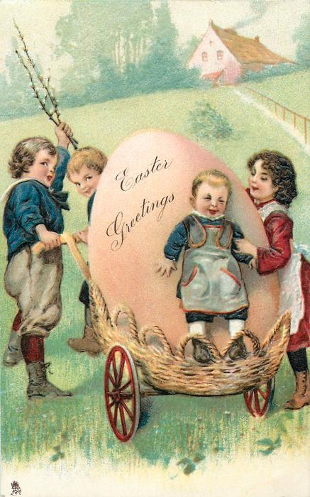 EASTER GREETINGS  four children with enormous pink egg in a carriage