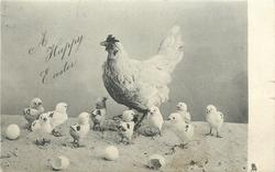 A HAPPY EASTER  hen stands facing right with ten chicks