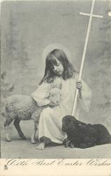 WITH BEST EASTER WISHES  girl kneeling between two lambs, cross in her hand