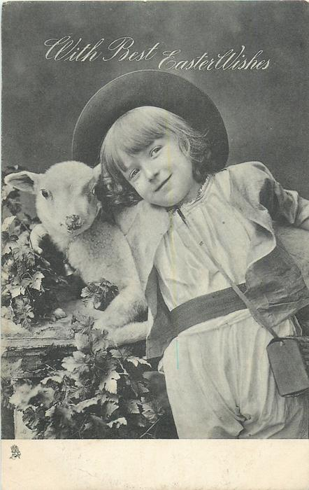 WITH BEST EASTER WISHES  boy with wide-brim hat holds lamb, has box slung over shoulder