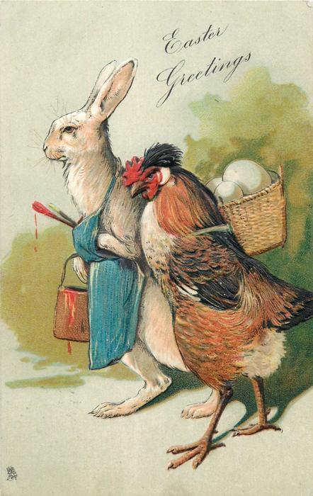 EASTER GREETINGS  fantasy rabbit & hen with eggs in basket on her back walk left
