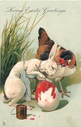 LOVING EASTER GREETINGS  fantasy rabbit paints egg, hen observes