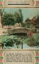 SUNDAY  stone bridge over pond, park scene