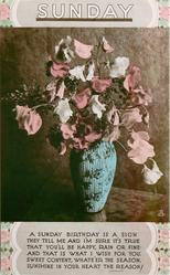 SUNDAY sweet peas in blue vase
