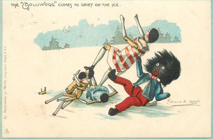 """THE """"GOLLIWOGG"""" COMES TO GRIEF ON THE ICE"""