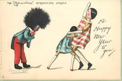 "A HAPPY NEW YEAR TO YOU, THE ""GOLLIWOGG"" INTRODUCING HIMSELF  he bows to two frightened stick girls"