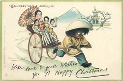 """GOLLIWOGG"" HIRES A JINRIKSHA  WITH LOVE & GOOD WISHES FOR A HAPPY CHRISTMAS"