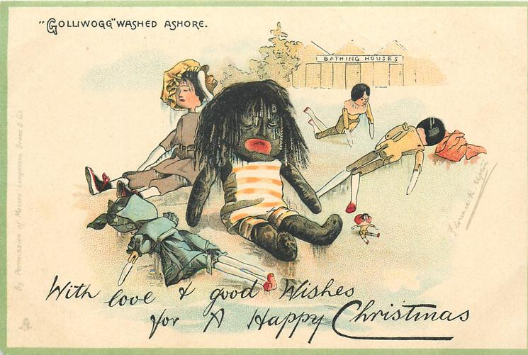 """""""GOLLIWOGG"""" WASHED ASHORE  WITH LOVE & GOOD WISHES FOR A HAPPY CHRISTMAS"""