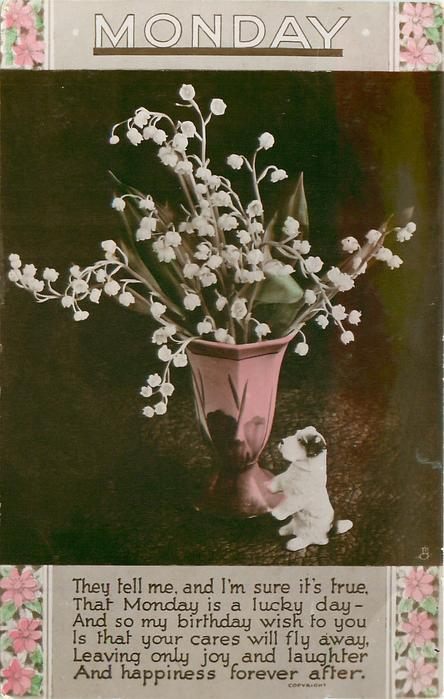 MONDAY  vase of lilies-of-the-valley & tiny china dog