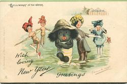 "WITH LOVING NEW YEAR GREETINGS or WITH LOVING CHRISTMAS GREETINGS, ""GOLLIWOGG"" IN THE WATER"
