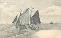 FISHING BOAT  moving left, four sailing ships on horizon