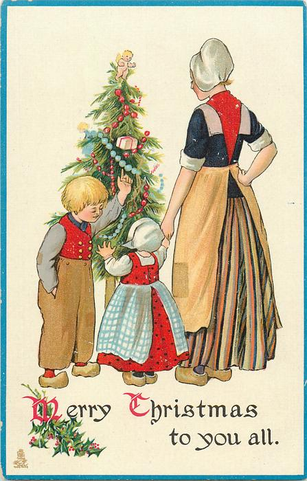Merry Christmas In Dutch.Merry Christmas To You All Dutch Boy Shows Girl The Tree As