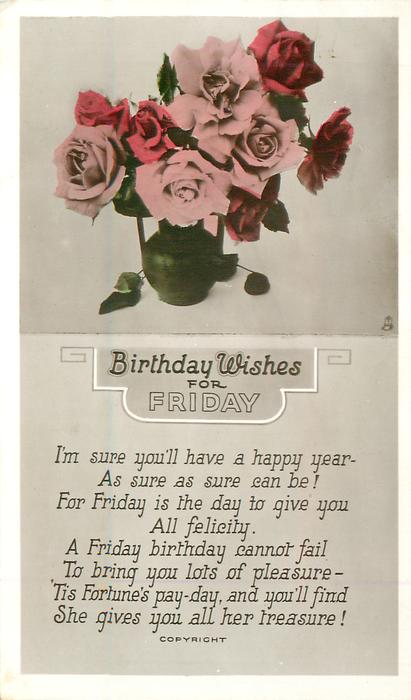 BIRTHDAY WISHES FOR FRIDAY Vase Of Pink Red Roses