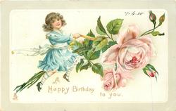 A HAPPY BIRTHDAY TO YOU  girl rides on a spray of pink roses