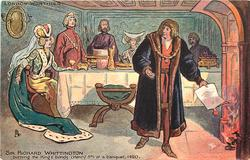 SIR RICHARD WHITTINGTON BURNING THE KING'S BONDS (HENRY 5TH) AT A BANQUET 1420