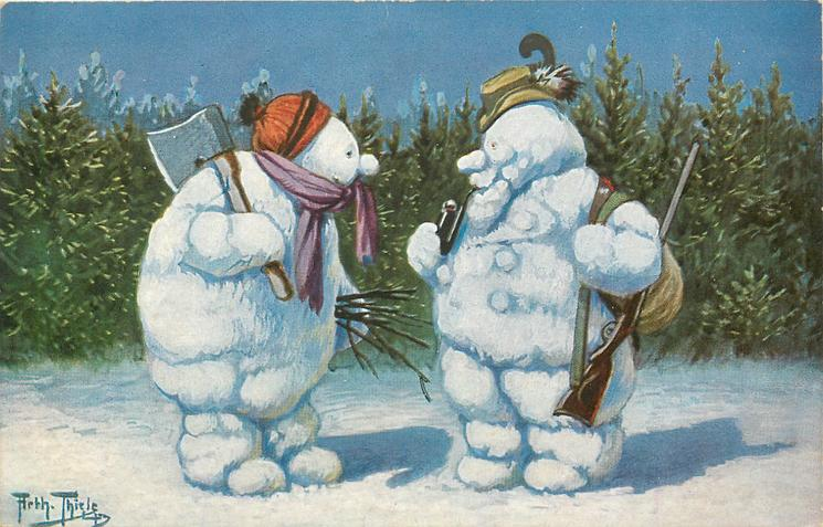 hunter snowman with gun and smoking a pipe talks to bent over snowman with axe