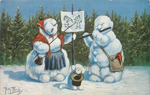 snow entertainers - snowman plays pipe, snowlady sings, snowdog begs