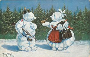 soldier snowman and housewife snowlady