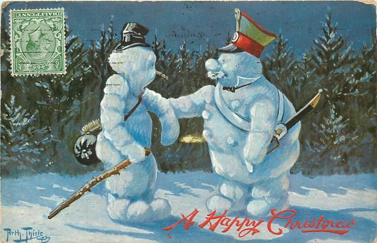 soldier snowman and tramp snowman