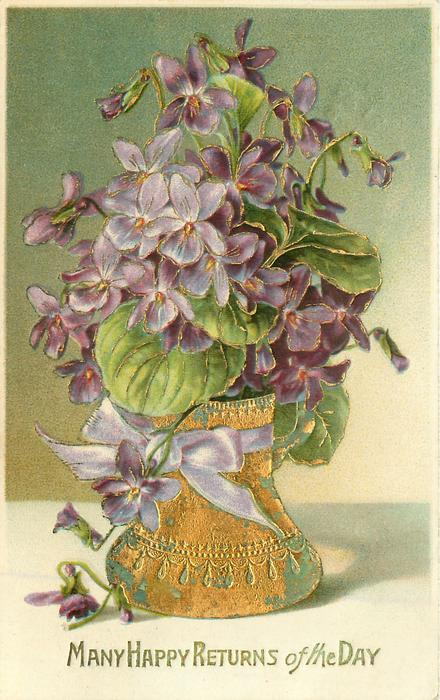Many Happy Returns Of The Day Violets In Gilt Vase Purple