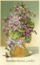 MANY HAPPY RETURNS OF THE DAY  violets in gilt vase, purple ribbon