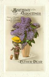 BIRTHDAY GREETINGS    black doll, small kingfisher, vase of lilac