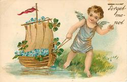 FORGET ME NOT cupid pulls along sailing ship full of forget-me-nots