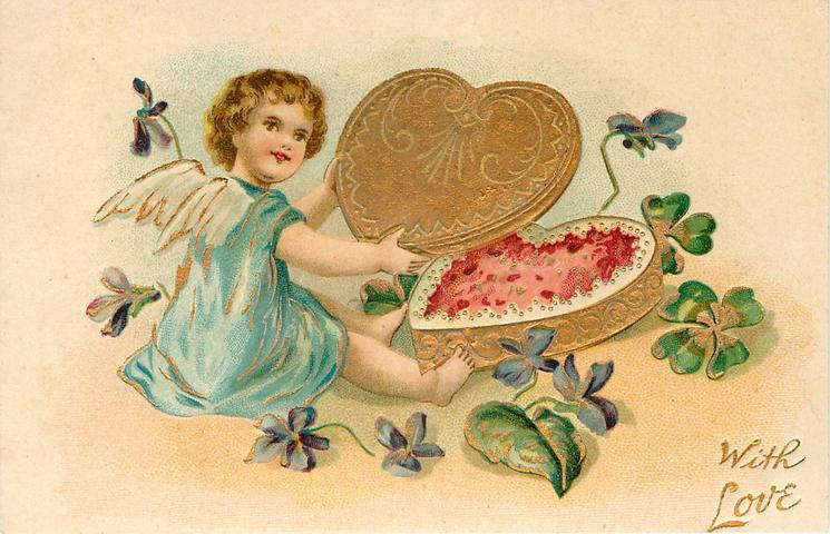 WITH LOVE  girl cupid in blue opens gilt heart-shaped box