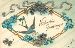 VALENTINE GREETINGS  blue-bird carrying valentine, violets, forget-me-nots