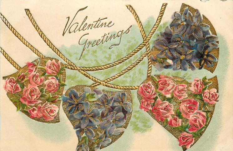VALENTINE GREETINGS  four bells hang two covered with violets, two with roses